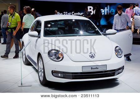 FRANKFURT - SEP 17: Volkswagen Beetle car shown at the 64th Internationale Automobil Ausstellung (IAA) on September 17, 2011 in Frankfurt, Germany.