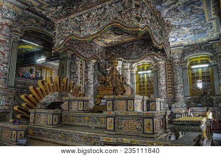 Hue, Vietnam - January 5,2015: Interior Of Imperial Khai Dinh Tomb In Hue, Vietnam