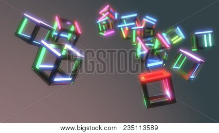 Abstract Emissions Cubes Of Background, 3d Render
