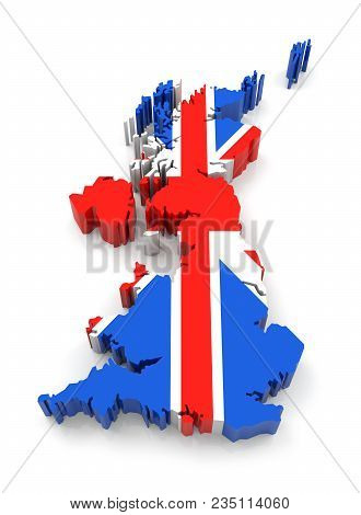 United Kingdom Map With Flag. 3d Rendering