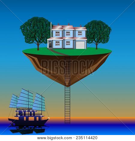 Flying Island Above The Water, Sailboat, Hermit On The Levitating Island. Vector Illustration