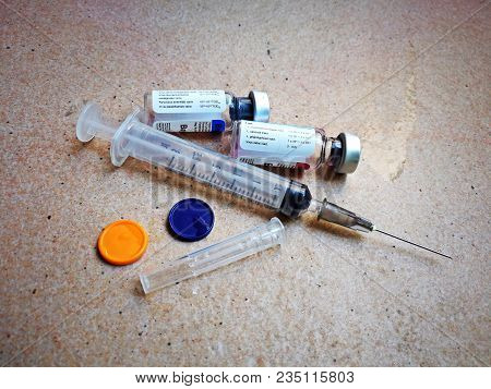 Needles And Vaccine For Protect My Dogs From  Rabies, Hydrophobia