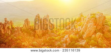 Panorama Of Valley Of Desolation Olso Called The Cathedral Of The Mountains, In Camdeboo National Pa