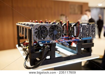 Cryptocurrency Mining Equipment - Lots Of Gpu Cards On Mainboard Gain Money