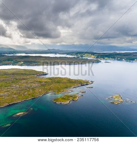 Norway Coast With Islands And Lagoon On A Summer Cloudy Day Drone Aerial View