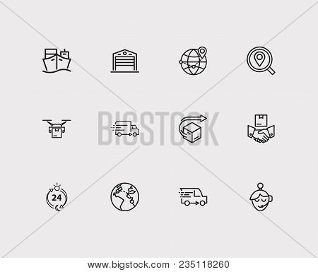 Logistics Icons Set. Warehouse And Logistics Icons With Export, Logistics And Delivery Location. Set