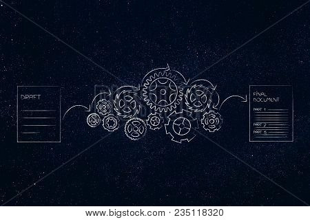 From Draft To Final Document Conceptual Illustration: Paper Sheets With Gearwheel Mechanism In Betwe