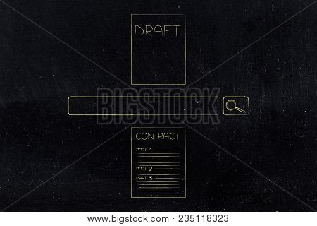 From Draft To Final Contract Conceptual Illustration: Sheets With Search Bar In Between Them