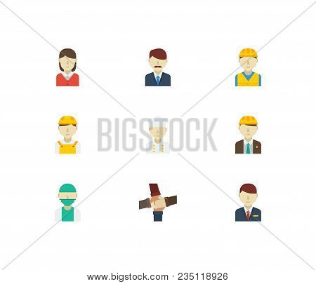Occupation Icons Set. Teamwork And Occupation Icons With Female Worker, Doctor And White Worker. Set