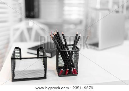 Sharp Pencil In Black Metal Basket, Black And White