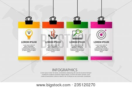 Modern Vector Illustration. Infographic Pattern On Suspended Sheet Of Paper. 3D Style With Four Step