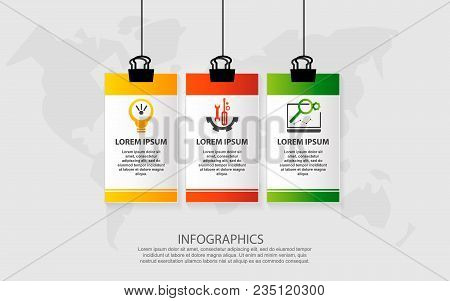 Modern Vector Illustration. Infographic Pattern On Suspended Sheet Of Paper. 3D Style With Three Ste