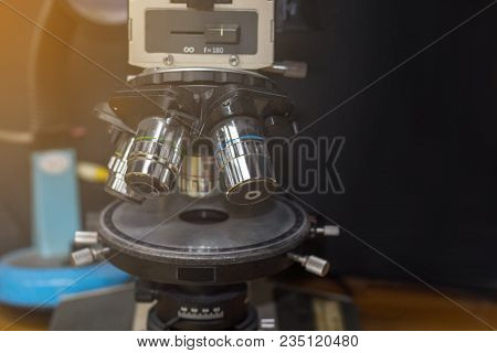 Optical Microscope In Qc Lab Dark Room,microscope Is Used For Defect Reject On Production Line,close
