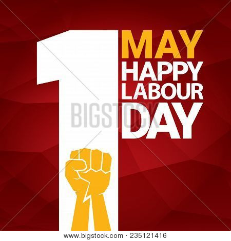 Happy Labour Day Vector Label With Strong Orange Fist On Red Background. Labor Day Background Or Ban