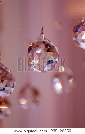 The Balls Are Glass Faceted Hanging Mystical. Interior Decorative Balls And Ornaments.