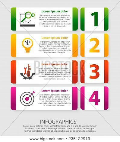 Modern Vector Illustration 3D. An Infographic Template With Four Steps And An Image Of Five Rectangl