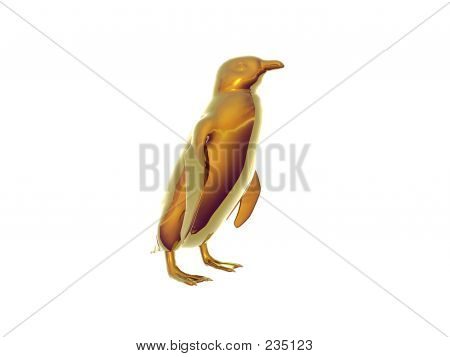 isolated gold penguin poster