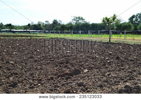 Empty Prepared Soil For New Cultivation With Greenhouse Nursery Background, Agriculture Concept