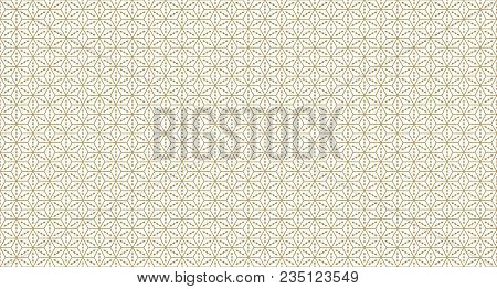 Golden Geometric Pattern, Part 04. Seamless Golden Pattern With Lines, Rhombuses And Geometric Figur