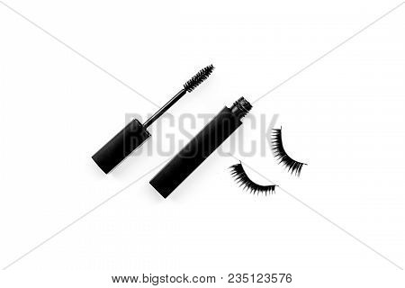 Basic Products For Eyelashes Makeup. Mascara And False Eyelashes On White Background Top View.
