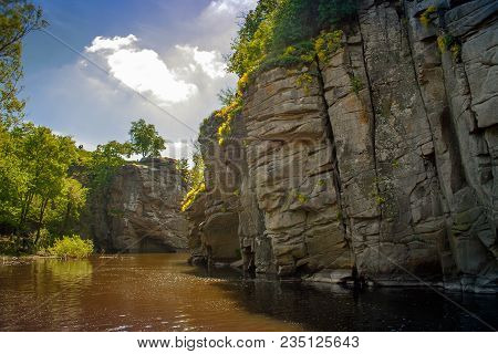 Terrific View Of The River Canyon On A Sunny Day. Buky Canyon On The Hirs'kyi Takich River In Ukrain
