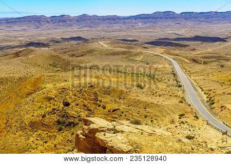 Landscape Of Hamakhtesh Hagadol (the Big Crater). It Is A Geological Erosional Landform In The Negev