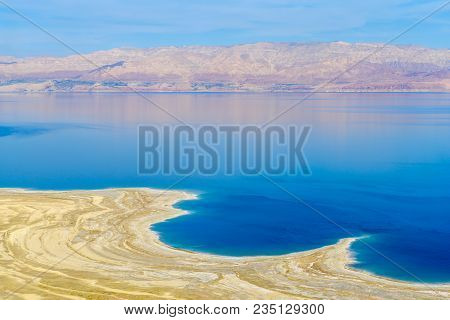 Landscape Of The Coastline Of The Dead Sea, Between Israel And Jordan