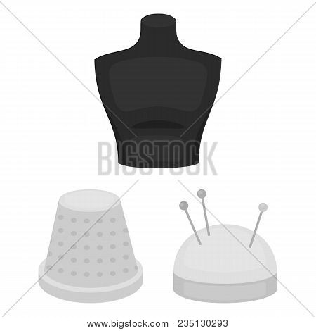 Atelier And Sewing Monochrome Icons In Set Collection For Design. Equipment And Tools For Sewing Vec