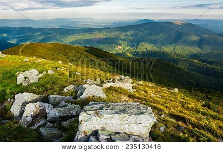 Beautiful View Of Carpathians In Dappled Light. Wonderful Colors Of Summer Landscape In Mountains On