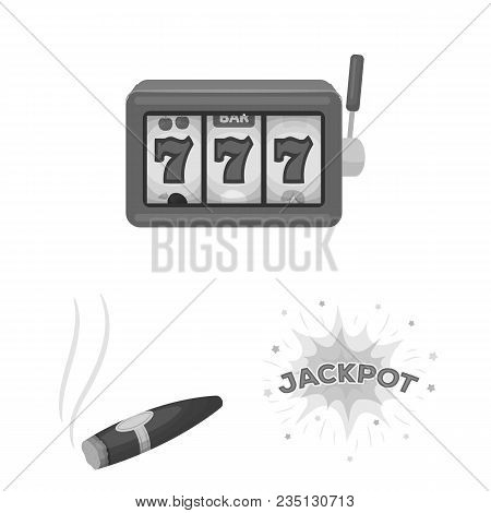 Casino And Gambling Monochrome Icons In Set Collection For Design. Casino And Equipment Vector Symbo