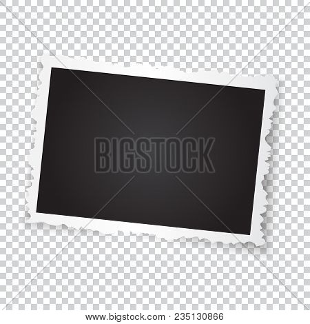 Retro Photo Frame. Realistic Vector Object With Figured Edges. Template Photo Design On A Transparen