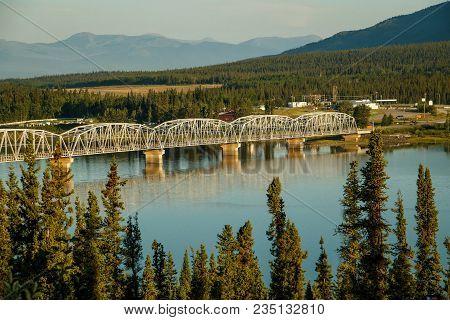 Nisutlin Bay Bridge In Teslin In Yukon North Territory, Larger Then Life, Teslin Bridge On Alaska Hw