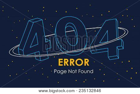 404 Error Page Not Found Line Space Vector Graphic Background