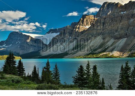 Scenic Columbia Icefield Parkway Along Bow Lake, Banff National Park In Canada, Great Hiking Trailhe