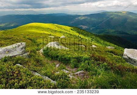 Path Down The Hill Among The Rocks. Lovely Mountain Landscape In Summer