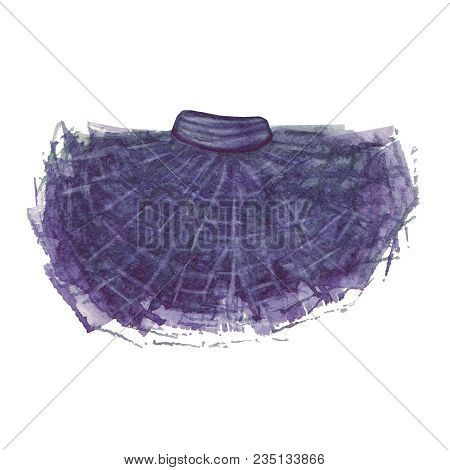 Tutu Skirt. Watercolor Illustration. Pleated Ballet Hand Painted Skirt.