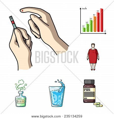 Diabetes Cartoon Icons In Set Collection For Design. Treatment Of Diabetes Vector Symbol Stock  Illu