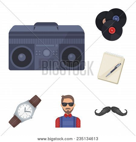 Style Hipster Cartoon Icons In Set Collection For Design. Hipster Attributes And Accessories Vector