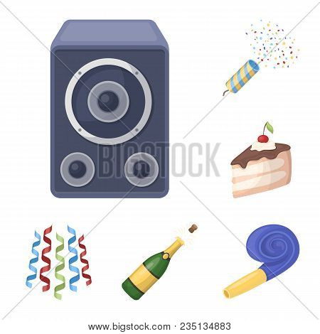 Party, Entertainment Cartoon Icons In Set Collection For Design. Celebration And Treat Vector Symbol