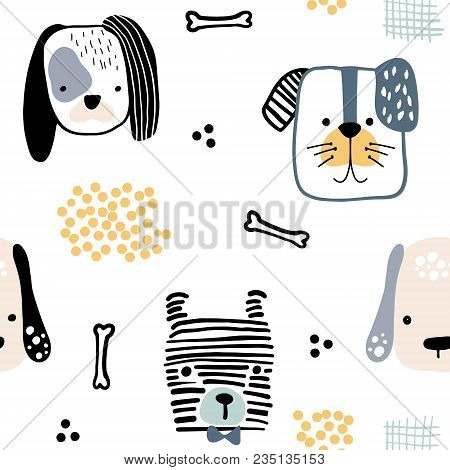 Seamless Pattern With Cute Dog Faces And Hand Drawn Elements. Creative Childish Texture. Great For F