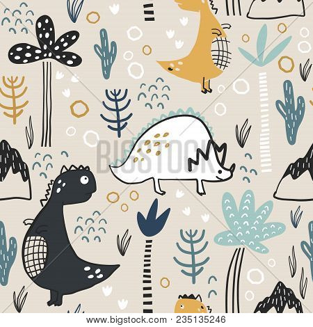 Childish Seamless Pattern With Hand Drawn Dino, Palm Trees And Dhand Drawn Shapes In Scandinavian St