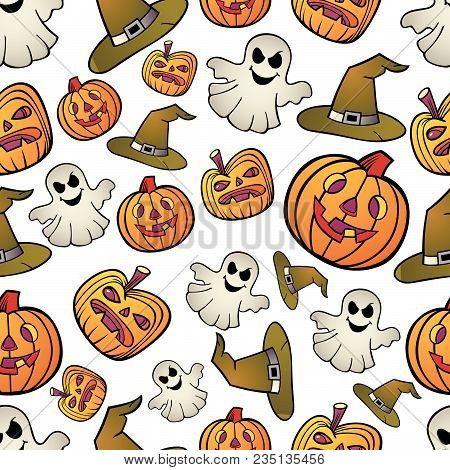 Seamless Haloween Pattern: Free Shape Elements As A Texture On The Background. It Can Use As Print I
