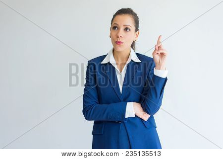 Amazed Young Business Woman Having Great Idea. Portrait Of Beautiful Caucasian Woman In Blue Formal