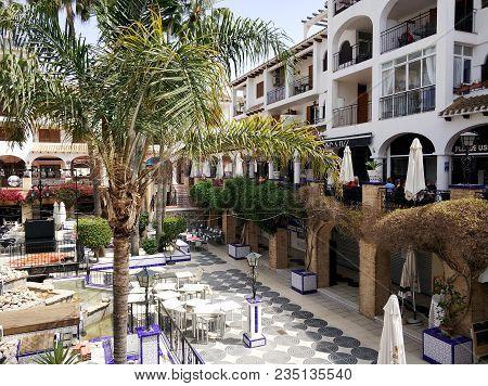 Villamartin, Spain - April 7, 2018: Villamartin Plaza, Consists With A Bars And Restaurants. Beautif