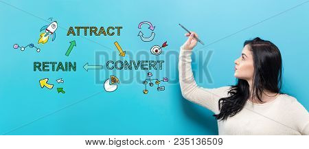 Attract, Convert, Retain With Young Woman Holding A Pen On A Blue Background