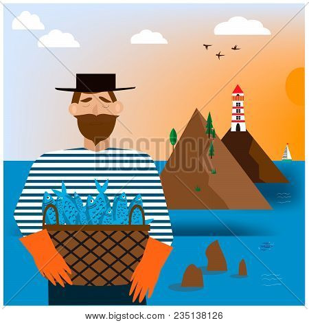 Bearded Man With Basket With Fishes. Eps 10.