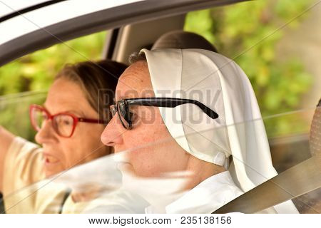 Italy Rome. July 24,2017. The Nun Is Driving A Car.