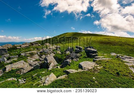 Beautiful Landscape Of Runa Mountain In Summertime. Fine Summer Weather With Some Clouds On A Blue S