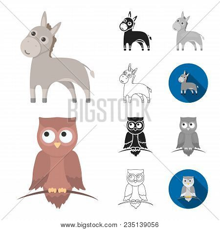 An Unrealistic Animal Cartoon, Black, Flat, Monochrome, Outline Icons In Set Collection For Design.