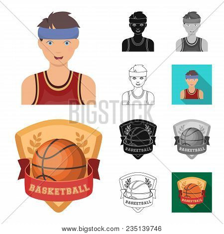 Basketball And Attributes Cartoon, Black, Flat, Monochrome, Outline Icons In Set Collection For Desi